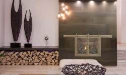Modern fireplace with wood