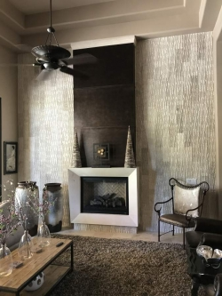 We grated the stone cladding to contrast with this fireplace surround